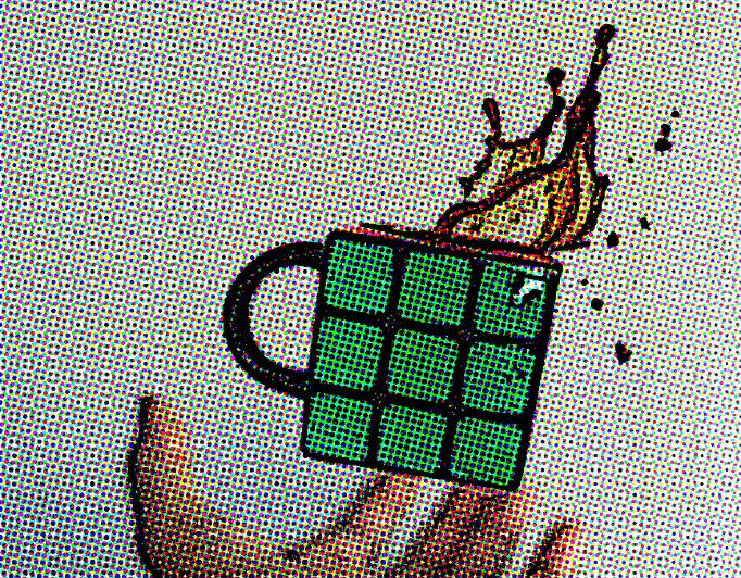 Hand dropping Rubik's Cube shaped coffee cup with comic book effects. Ashley sees people for therapy in Minneapolis.