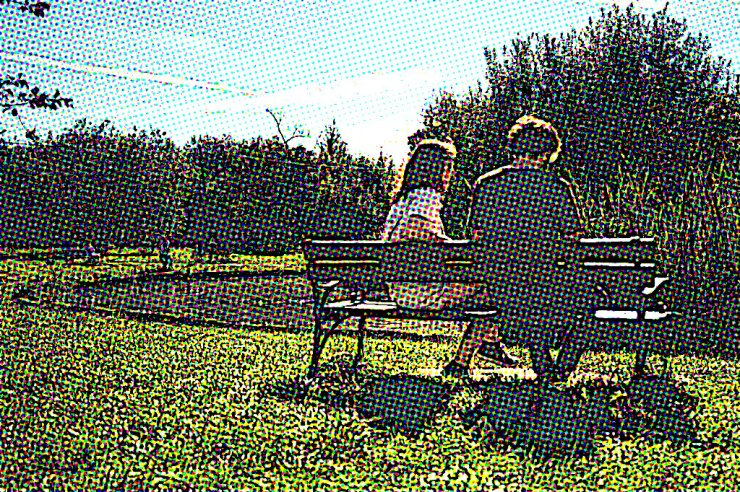 people on bench comic effect