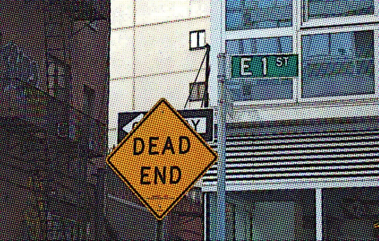 "Yellow sign reading ""DEAD END,"" next to street sign reading ""E 1st."" Buildings in background. Comic book effect filter over full image. Ashley sees clients for therapy in Minneapolis."