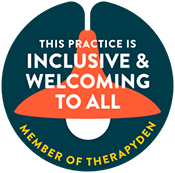 Badge indicating Therapy Den membership, reading This Practice is Inclusive and Welcoming to All