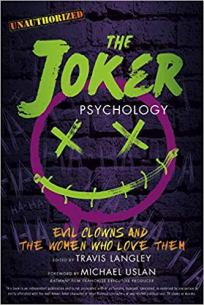 Cover of the book, The Joker Psychology. Text in green, with purple smiley face against brick background.