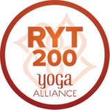 Yoga alliance ryt 200 logo with orange and red writing.