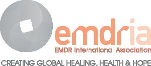 EMDRIA logo, with words EMDR International Association, Creating Global Healing, Health & Hope