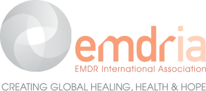 EMDRIA logo, with words EMDR International Association, Creating Global Healing, Health & Hope