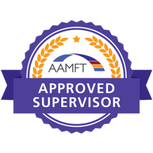 Badge indicating Approved Supervisor status from American Association for Marriage and Family Therapy