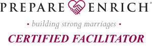 Badge indicating Certified Facilitator of PREPARE/ENRICH marriage and relationship program