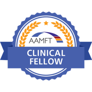 Badge indicating Clinical Fellow status from American Association for Marriage and Family Therapy