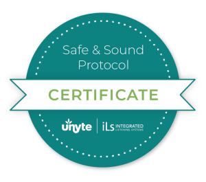 Badge indicating Certified Provider of Safe & Sound Protocol from Integrated Listening Systems
